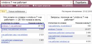 Windows 7 не работает. Статистика запросов