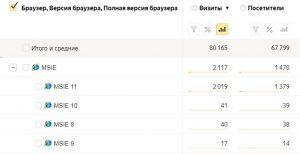 Статистика посещаемости с браузера Internet Explorer